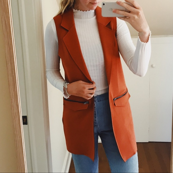 377f87a6882f1d Topshop Burnt Orange Sleeveless Blazer. M 5b4a32be2beb797fe45646dd